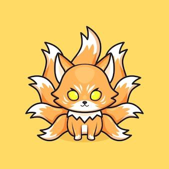 かわいい九尾の狐のマスコット