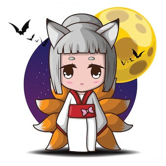 Cute nine tails fox devil in full moon illustration.