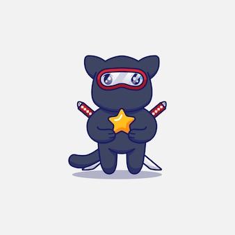 Милый кот ниндзя, несущий звезду