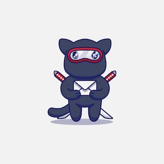 Милый кот ниндзя с конвертом Premium векторы