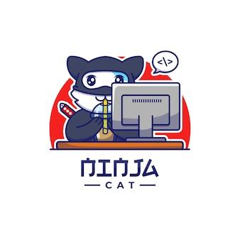 Милый кот ниндзя пьет чашку кофе перед компьютером