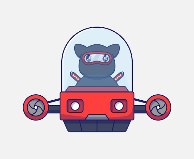 Милый кот ниндзя за рулем летающего автомобиля