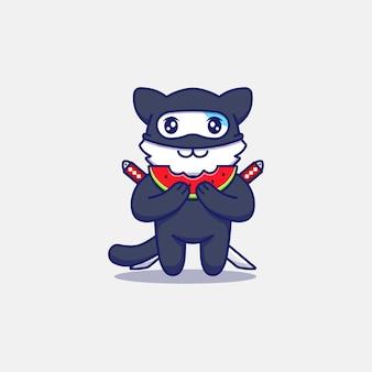 Милый кот ниндзя ест свежий арбуз