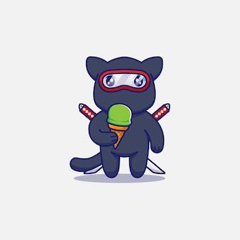 Милый кот ниндзя ест мороженое