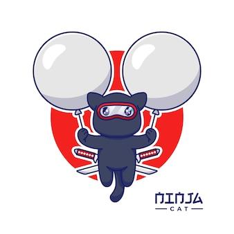 Милый кот ниндзя, плавающий с воздушными шарами