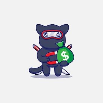 Милый кот-ниндзя получает сумку с деньгами с магнитом
