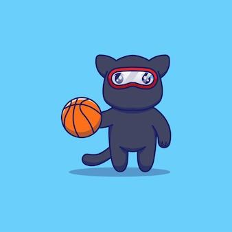 Милый кот ниндзя играет в баскетбол