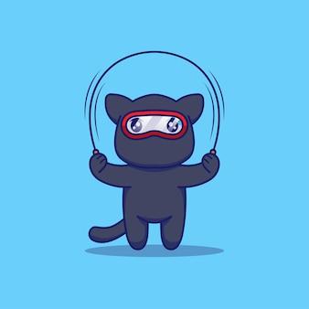 Милый кот ниндзя играет со скакалкой