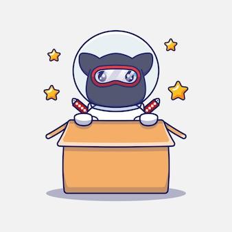Милый кот ниндзя в костюме космонавта в картоне