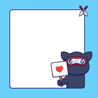 Милый кот ниндзя с пустой доской для текста