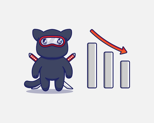 Милый кот ниндзя с графиком вниз знак