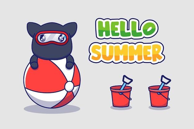 Милый кот ниндзя с приветственным летним поздравительным баннером Premium векторы