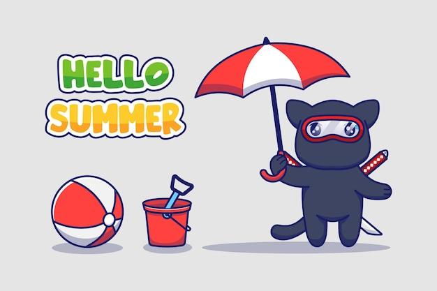 Милый кот ниндзя с приветственным летним поздравительным баннером