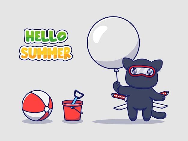 Милый кот ниндзя с привет летним приветствием