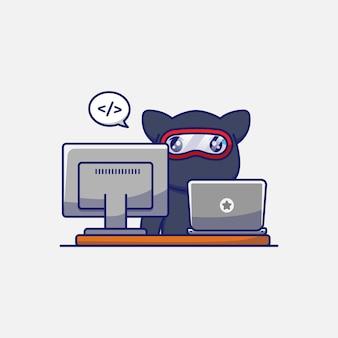 Милый кот ниндзя работает перед своим компьютером
