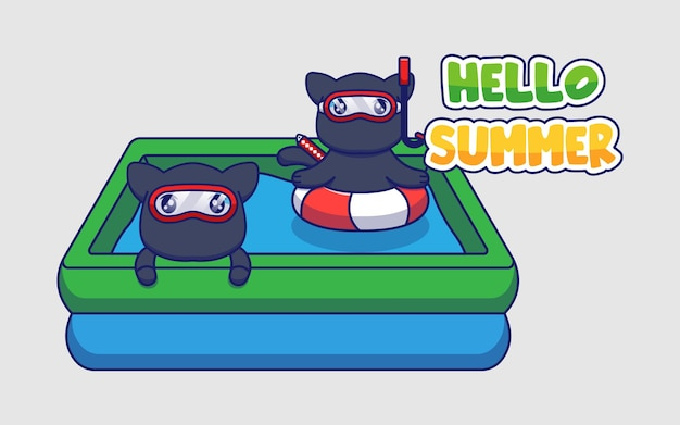 こんにちは夏の挨拶バナーとかわいい忍者猫