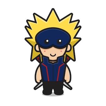 Милый персонаж ниндзя носить маску и двойной меч мультфильм векторная иллюстрация концепция значка боевого искусства