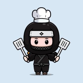 Симпатичная иллюстрация талисмана шеф-повара ниндзя