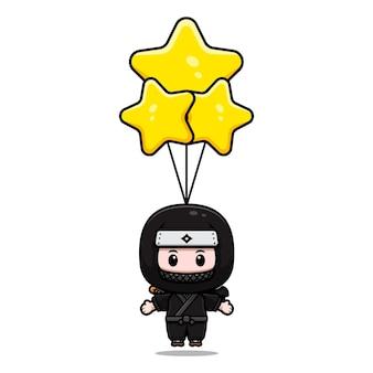 Симпатичный ниндзя, плавающий с иллюстрацией значка талисмана звездного шара