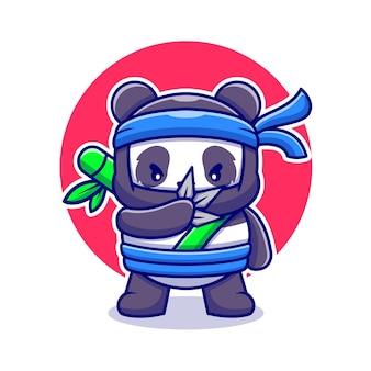かわいい忍者パンダ漫画アイコンイラスト。分離された動物のマスコットアイコン。フラット漫画スタイル