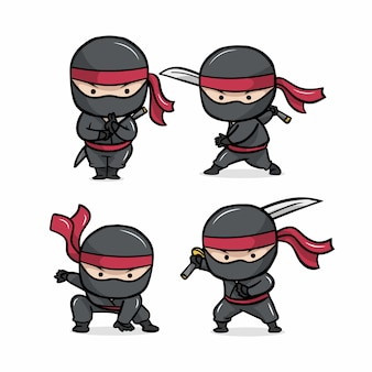 The cute ninja set cartoon