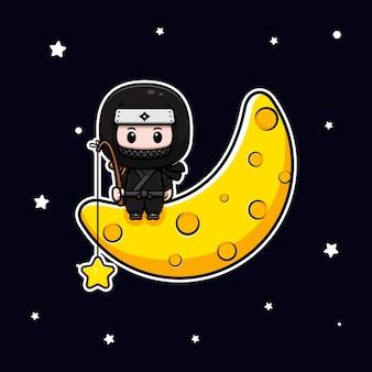 Симпатичный ниндзя сидит на луне и ловит звезду талисман значок иллюстрации