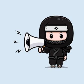 Cute ninja speaking on megaphone mascot icon illustration