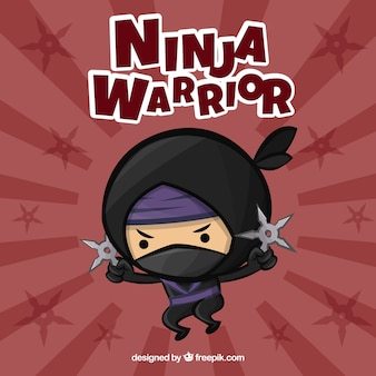 Cute ninja warrior background