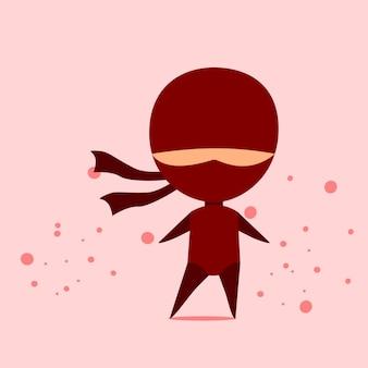 차분한 분홍색 배경 프리미엄 벡터가 있는 redl 옷을 입은 귀여운 닌자 전사