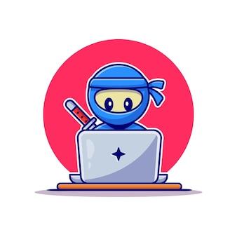 ラップトップ漫画ベクトルアイコンイラストに取り組んでいるかわいい忍者。ピープルテクノロジーアイコンコンセプト。フラット漫画スタイル
