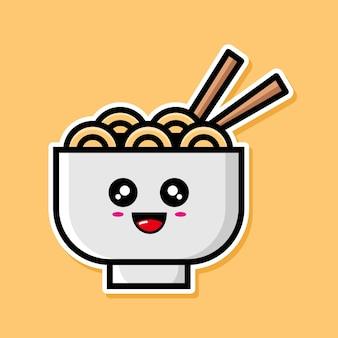 かわいい麺の漫画のデザイン