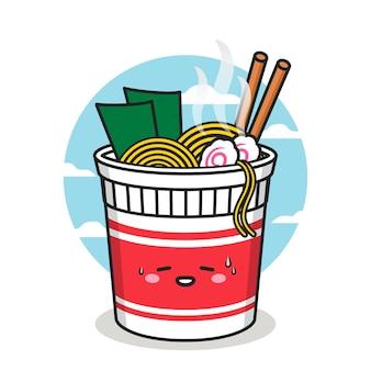 Симпатичный персонаж чашки лапши с палочкой для еды