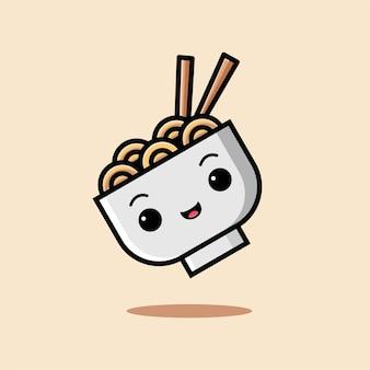 ベージュで隔離かわいい麺アイコン漫画