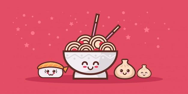 귀여운 국수라면 그릇 초밥과 만두 세트