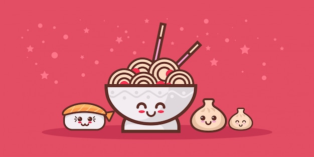 Cute noodle ramen bowl sushi and dumpling set