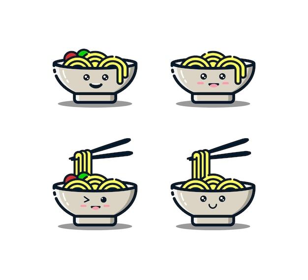 Симпатичный персонаж лапши с палочками для еды в стиле mbe