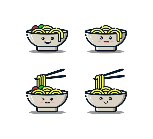 Cute noodles character with chopsticks in mbe style