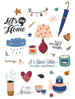 Симпатичные северные осенние и зимние элементы. изолированные на белом фоне. мотивационная типография цитат хюгге. иллюстрация в скандинавском стиле хороша для наклеек, этикеток, ярлыков, карточек, плакатов.