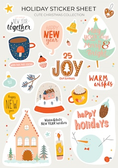 Cute nordic autumn and winter elements.  on background. motivational typography of hygge quotes. scandinavian style illustration good for stickers, labels, tags, cards, posters.