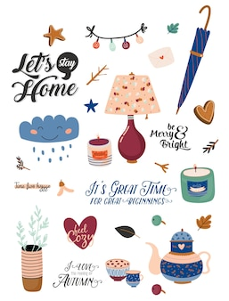 Cute nordic autumn and winter elements. isolated on white background. motivational typography of hygge quotes. scandinavian style illustration good for stickers, labels, tags, cards, posters.