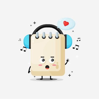 Cute note mascot listening to music