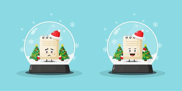 Cute note mascot in a snowball