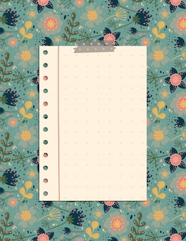 Cute note page with the pattern of flowers and leaves, a stationery organizer for daily plans.
