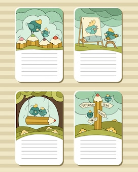 Cute notes with birds