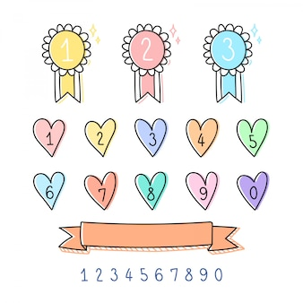 Cute number badge set.