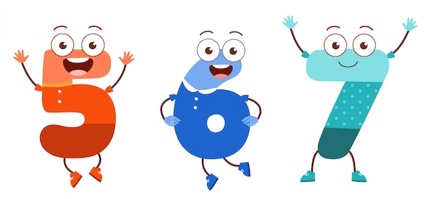Cute number character mascot for kid study