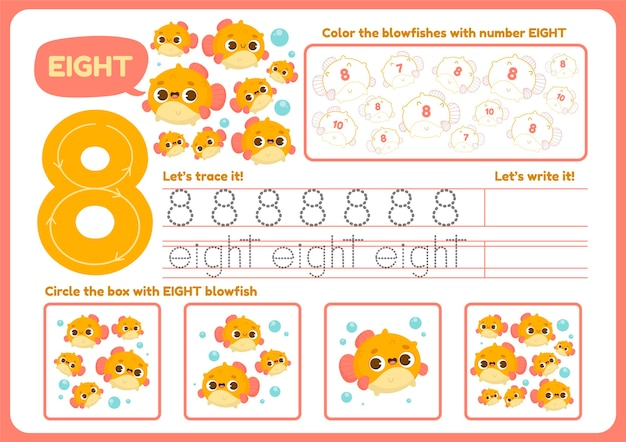 Cute number eight worksheet for children