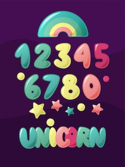 Cute numbers for kids.   cartoon set for children. unicorn hand lettering word with rainbow.