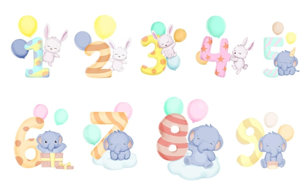 Cute numbers with animal character for birthday