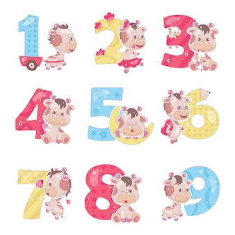 Cute numbers with baby giraffe cartoon illustrations set